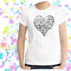 Ladies T-shirt Love Hearts and Flower Power Doodle Hippie Art XS - 2XL
