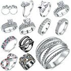 18K White Gold Filled Line Cross Ring Fashion Women Engagement Gift Jewelry