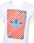 Adidas Originals Mens Stripes T-Shirt Tee White & Red Retro Printed AJ7117