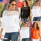 Fashion Women's Long Sleeve Lace Shirt Casual Loose Ladies Blouse Tops T-Shirt