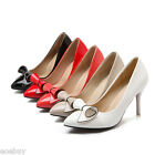 Women's Slim High Heels Pointed Shoes Patent Leather Bow Pumps UK Size 1~12 D628