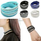 Sexy Women Like Crystals 2wrap Around PU Leather Adjustable Bracelet Fashion Hot
