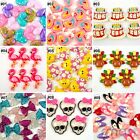 10pcs Mixed Colors Cartoon Resin Flatback Hair Bow Center Craft Decoration
