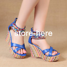 New Style Wedge Blue Shoes Platform Block Zipped Sandals Women Summer High Heels