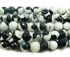 Black & White Fire Agate Faceted Gemstone Beads~Guaranteed