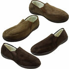 NEW MENS MOCCASIN  FAUX SUEDE SHEEPSKIN SLIP ON SLIPPERS SOFT WARM FUR