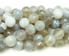 Gray Striped Agate Faceted Gemstone Beads~Guaranteed
