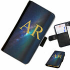 (INI135-T14) PERSONALISED GALAXY STARS INITIALS PU LEATHER PHONE CASE COVER