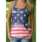 Cool Women Summer US American Flag Short Sleeve Vest Blouse Tank Tops Shirt