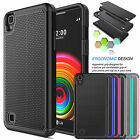 Black Shockproof Hybrid Rugged Rubber Dual Layer Hard Case Cover For LG X Power