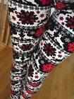 SOFT REINDEER SNOWFLAKE brushed Leggings S M L ONE size GREAT