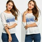 Vintage Women's Cotton Tops Casual Long Sleeve Loose Printing Shirt Blouse