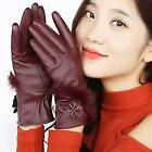 Elegant Women Fur Mittens Winter PU Leather Gloves Touch Screen Guantes