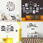Home Office Removable Water Resistant DIY 3D Wall Clock Art Sticker Decal