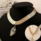 1 Piece Women's Ladies Girl Choker Pendant Gold Plated Leaf Chunky Necklace