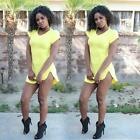 Fashion Women Casual Loose Summer Cotton Eveing Slit Party Dress M L