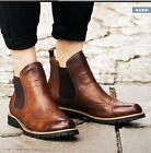 Mens Brogue Leather Ankle Boots High Top Slip On Retro Motorcycle Shoes Rome New
