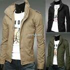 Men Hoodies Jacket Sweatshirt Military Stand collar Cardigan Coat Sweater Trench