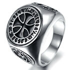 Mens Stainless Steel Ring, Biker, Silver, Cross KR1917