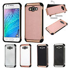 Samsung GALAXY J7 Leather Hybrid Rubber Silicone Hard Case Cover + Screen Guard