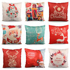 Hot Christmas Deer Cotton Linen Cushion Cover Pillow Case Square Home Decor Gift