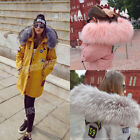 Winter Women's Cotton Coat Zip Lace up Applique Hooded Faux Fur Collar Jacket