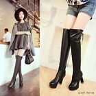 Women's Block High Heels Winter Warm Over The Knee Boots Lace Up Platform Shoes