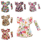 Toddler Infant Baby Girl Floral Romper Jumpsuit +Bowknot Headband Outfit Clothes