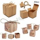 50x Vintage Love Rustic Sweet Kraft Paper Candy Gift Boxes Wedding Party Favour