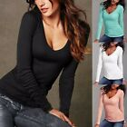 Women's Casual Long Sleeve T Shirt V-Neck Blouse Ladies Slim Cotton Shirt Tops