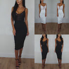 New Women's Applique Sheer Mesh Bodycon Strappy Ladies Midi Party Cocktail Dress