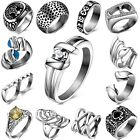Hot Men's Stainless Steel Gothic Punk Skull Silver Ring Fashion Jewelry Size 6-9