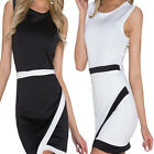 Women Asymmetric Casual White & Black Patchwork Elegant Pencil Short Mini Dress0