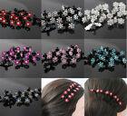 12Pcs Flower Crystal mini hair claw Clamp Bridal Flower Girl H048