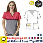 Внешний вид - WonderWink Origins [XS-3X Plus] Women Y-Neck Mock Wrap Medical Uniform Scrub Top