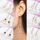 Women Retro Gold Plated Jewelry Gift Hollow Triangle Wood Dangle Hook Earrings