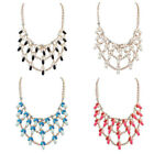 Women Bead Curtain Multi-layer Leaves Resin Chain Chunky Party Necklace