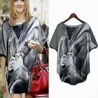Portrait Oversized Shirt Batwing Sleeve Top Women Loose Graphic Blouse Plus Size