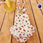Baby Girl Kids Newborn Summer White Cherry Cotton Ruffle Bloomers Halter Dress