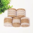 5M Natural Jute Burlap Hessian Ribbon With Lace Trim Edge Rustic Wedding Decor
