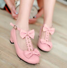 New Cute Girls Bowknot Plus Size T-Strap Lolita Mary Janes Shoes Ankle Straps#