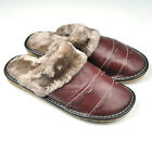 Women's Genuine Cowhide Leather Winter Warm Slippers Sandals Indoor Mules Curve