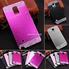 Brushed Metal PC Bling Diamond Case Cover For Samsung Galaxy Note 4 S4 S5 N4U8