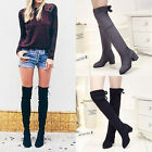 Sexy Ladies Over knee High Thigh Lace Up Stretch Flat Women's Knight Boots Shoes