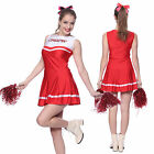 Ladies Cheerleader Fancy Dress High School Costume Uniform Pompoms S M L