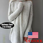 Womens Long Sleeve Pullover Sweater Top Oversize Loose Blouse Shirt Jumper Dress