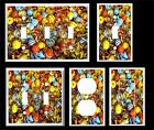 COLORFUL GLASS MARBLES  LIGHT SWITCH COVER PLATE