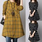 Fashion Women's Plaid Check Long Sleeve Shirt Dress Casual Loose Cotton Tops Tee