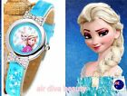 NEW Child Kid Girl Frozen Anna Elsa Synthetic leather Wrist Watch Birthday Gift