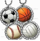 "Soccer Basket Volley Baseball Bottle Cap Necklace 24"" Chain Kids Sports Jewelry"